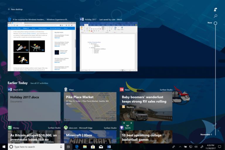 Highlight ist sicher die Timeline-Funktion im Spring Creators Update. (Foto: Microsoft)