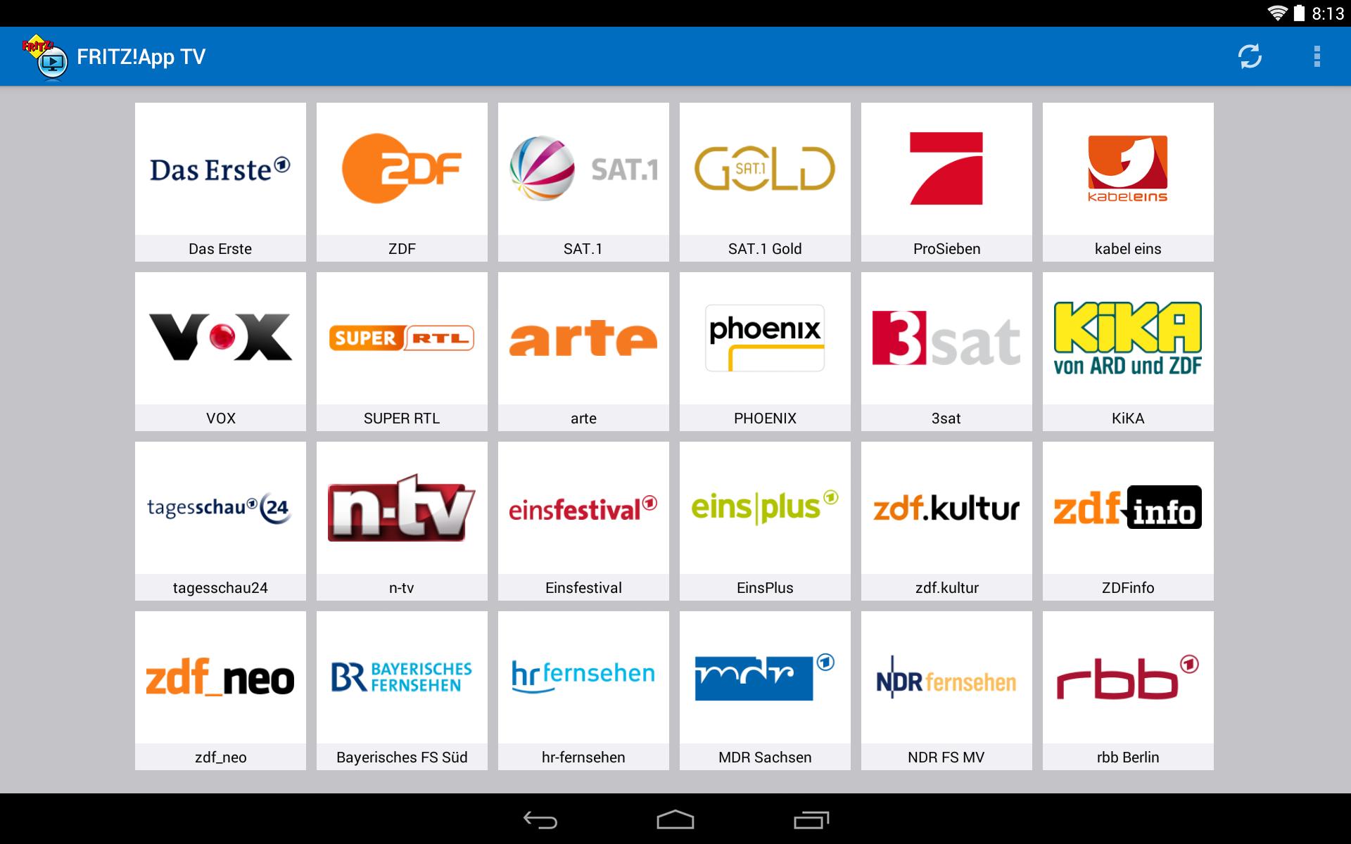 Die Senderliste in der Fritz-App TV auf einem Android-Tablet (Bild: AVM)