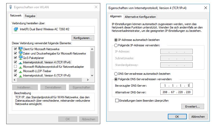 Den DNS-Server unter Windows 10 einzustellen, erfordert viele Schritte, ist letztlich aber ganz einfach (Bild: Peter Giesecke)