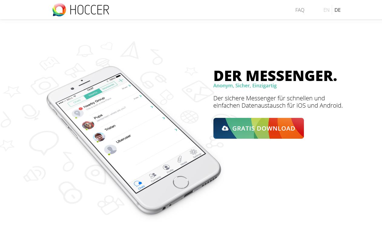 Beim Messenger Hoccer muss jeder Nutzer seine Freunde selbst kontaktieren (Screenshot von hoccer.com/de)
