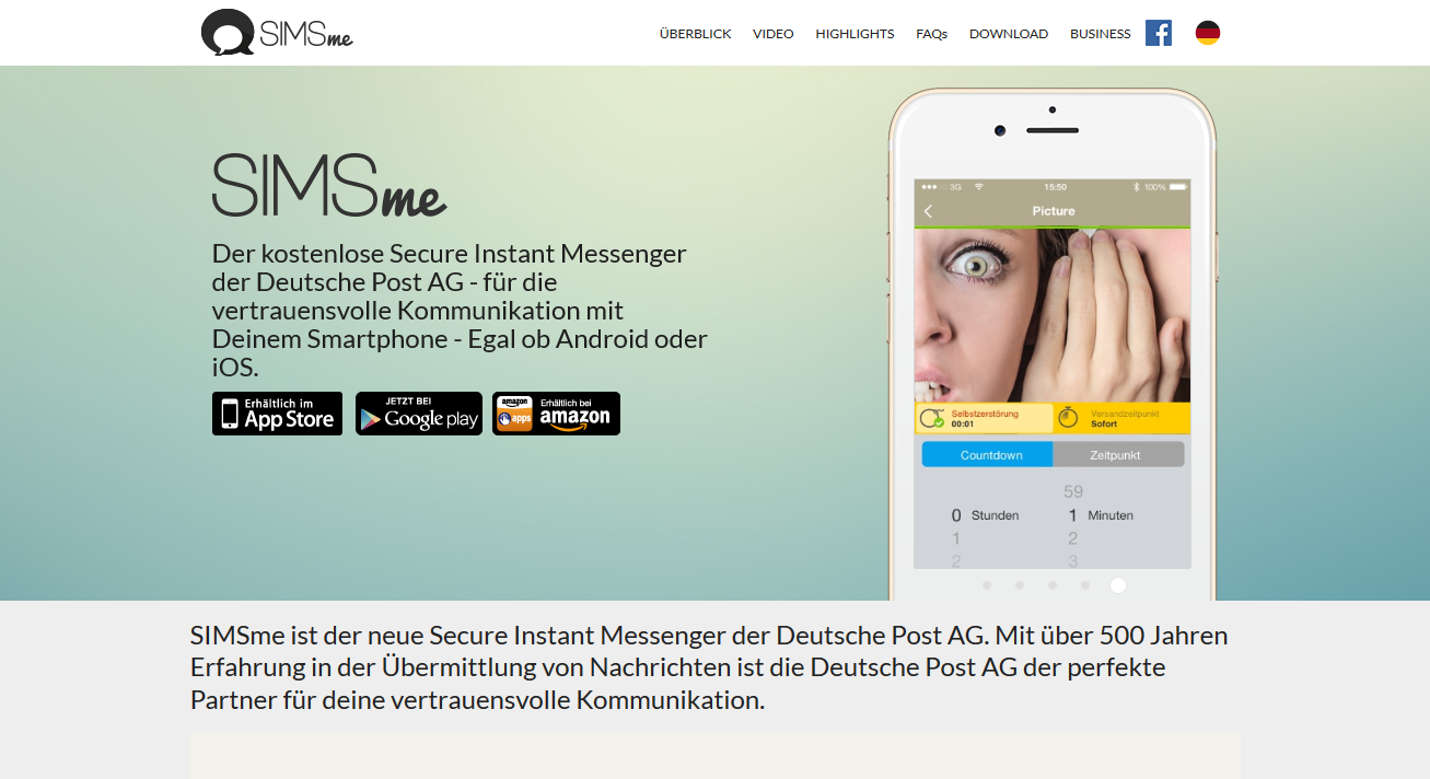Der Messenger SIMSme stammt aus Deutschland. Per Ampelfarbe zeigt er an, ob ein Kontakt vertrauenswürdig ist (Screenshot von SIMSme)