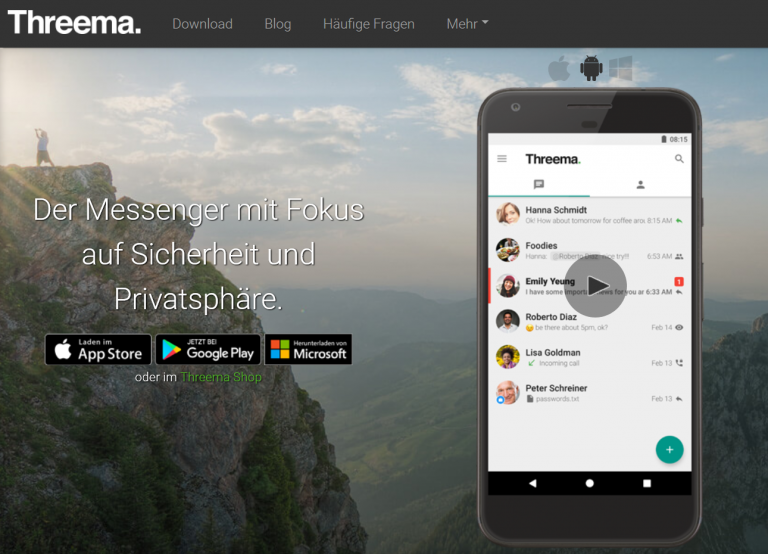 Threema Messenger (Screenshot von threema.com/de)