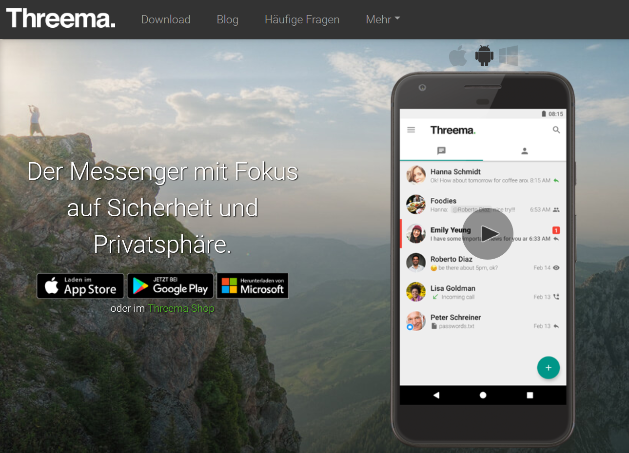 Threema Messenger (Screenshot von threema.com/de)