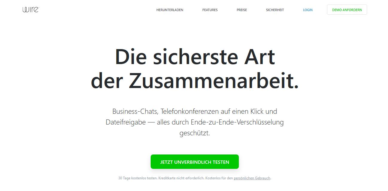 Der Messenger Wire lässt sich auch ohne Zugriff auf das Adressbuh nutzen (Screenshot von wire.com/de)