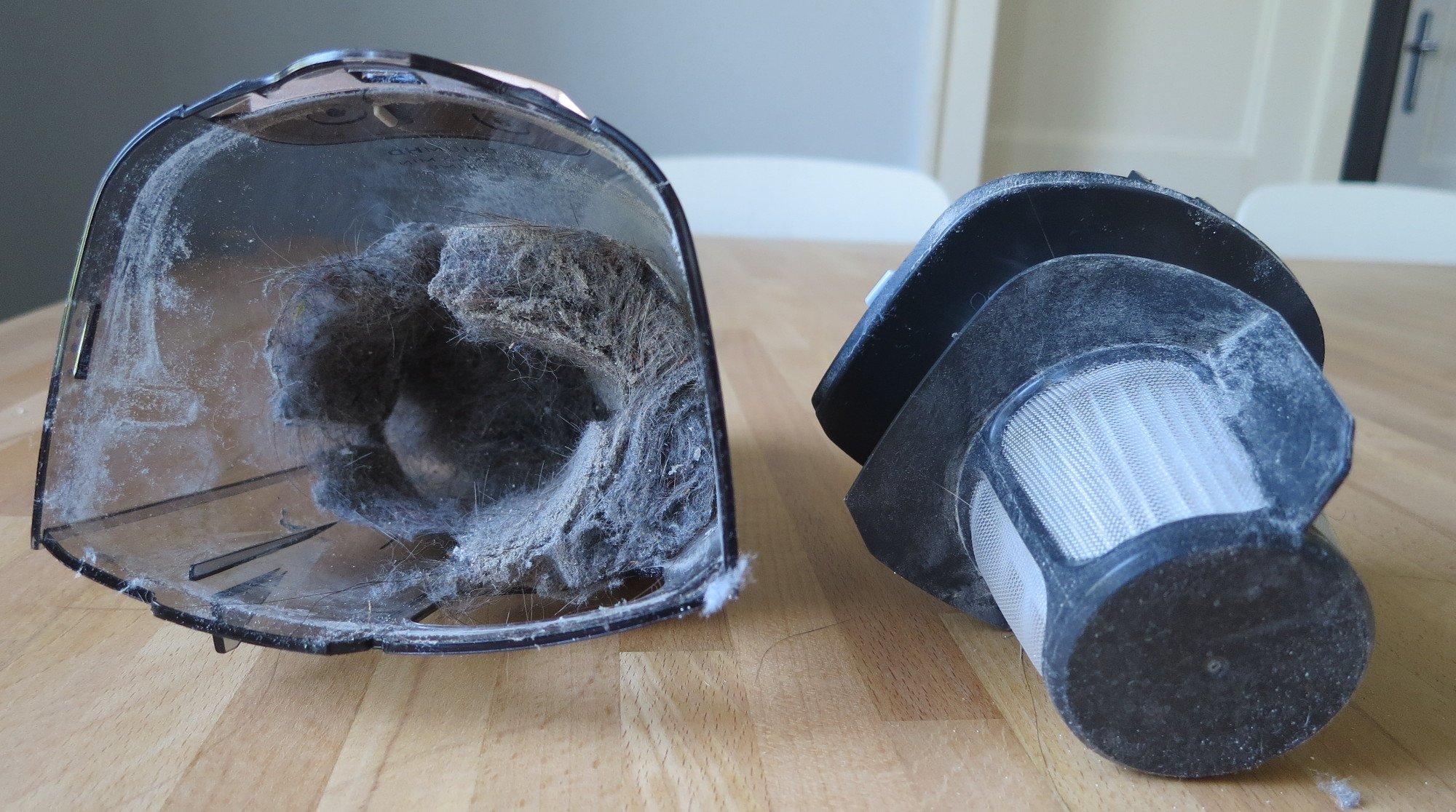 Dank zweier Katzen war der Staubbehälter des AEG CX7-2 in einer Viertelstunde fast voll (Bild: Peter Giesecke)