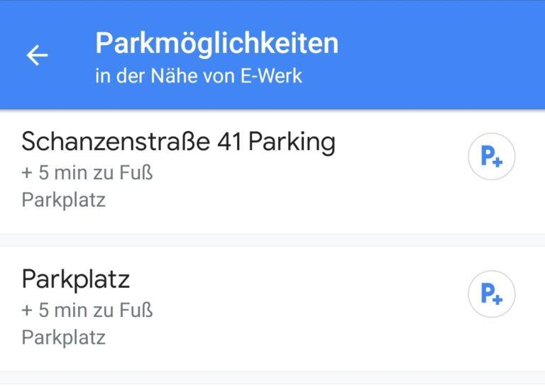 Parkmöglichkeiten auswählen.