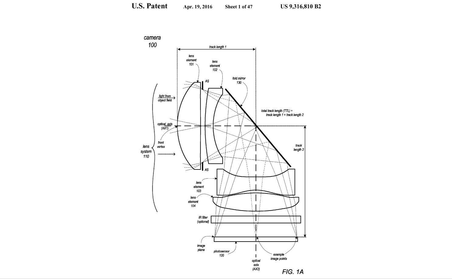 Apple hält ein Patent für eine Kamera, die das Licht im Smartphone umleitet und höhere Brennweiten ermöglicht (Bild: USPTO)