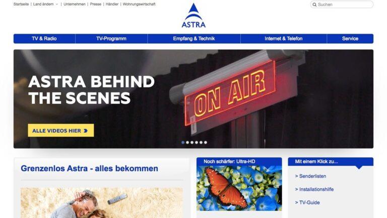 Homepage des Satelliten-TV-Betreibers Astra: Für Live-Übertragungen die schnellste Technik