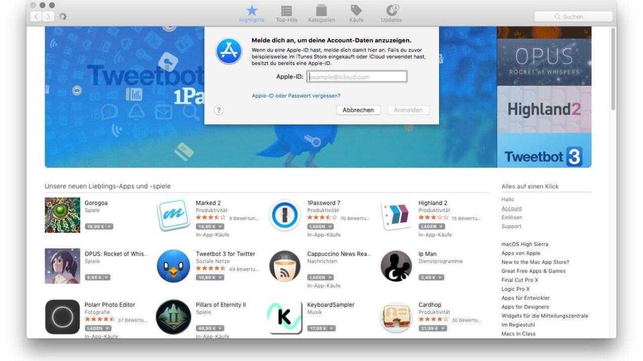 Macbook Pro mit USB-Stick statt Apple ID