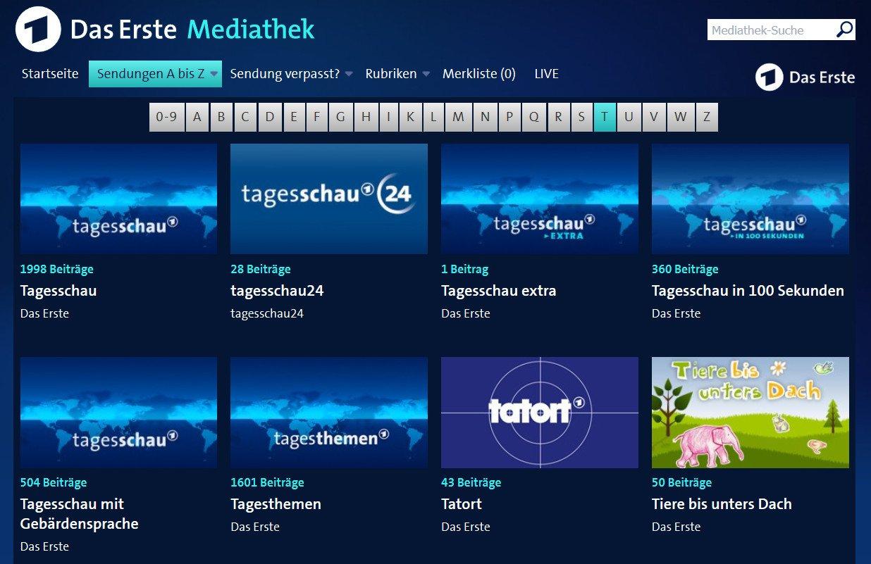 Das Erste Mediathek: Die Navigation per Sendungen A-Z ist nicht gerade übersichtlich (Screenshot)