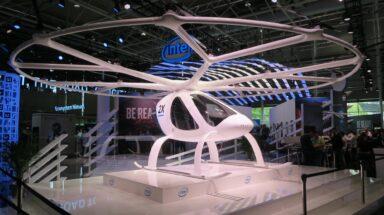 Flugtaxi Velocopter am Intel-Stand der Cebit 2018 (Bild: Peter Giesecke)