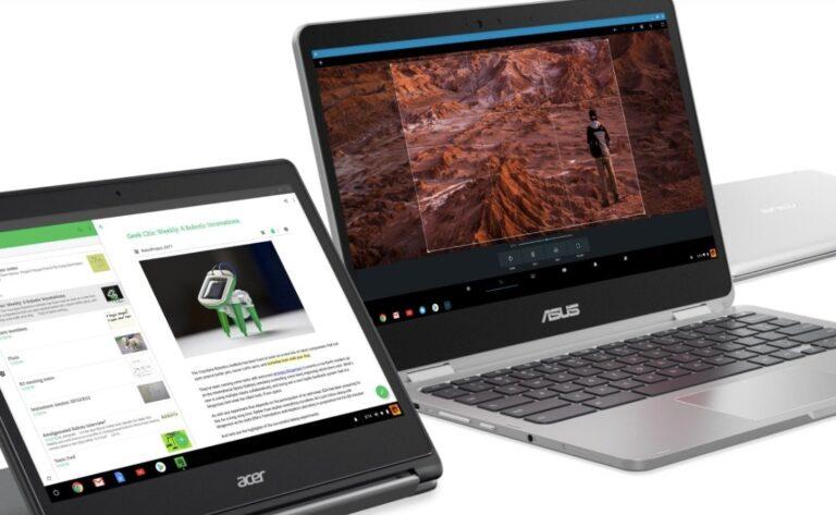 Google Chromebooks (hier von Acer und Asus): Werden sie mit Linux-Apps endlich zu konkurrenzfähigen Nummer 3 hinter Windows und Mac?