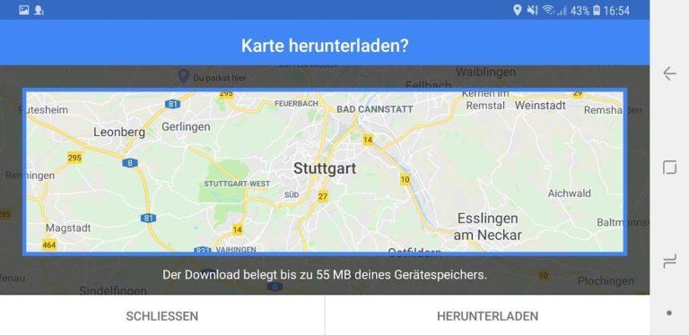 Mittlerweile lässt sich Kartenmaterial für Google Maps herunterladen.