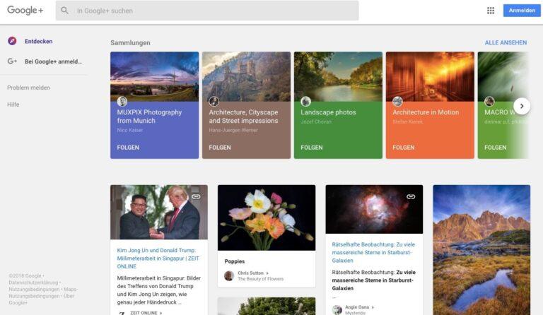 Google-Plus-Startseite: Wirkt nach wie vor aktiv.