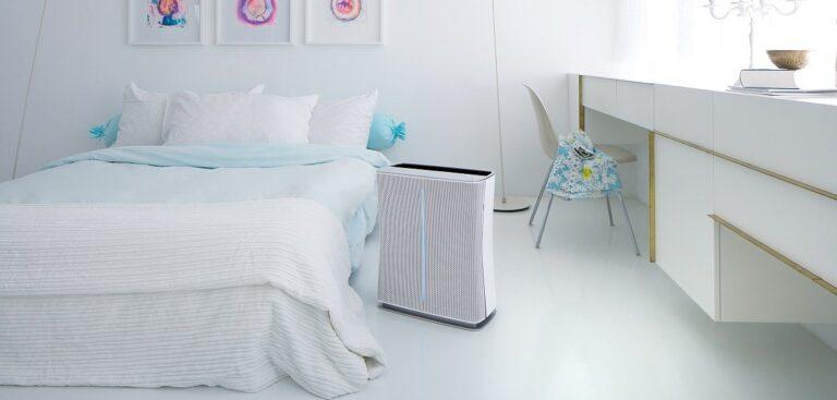 Dank seines geringen Betriebsgeräuschs lässt sich der Luftreiniger auch im Schlafzimmer einsetzen.