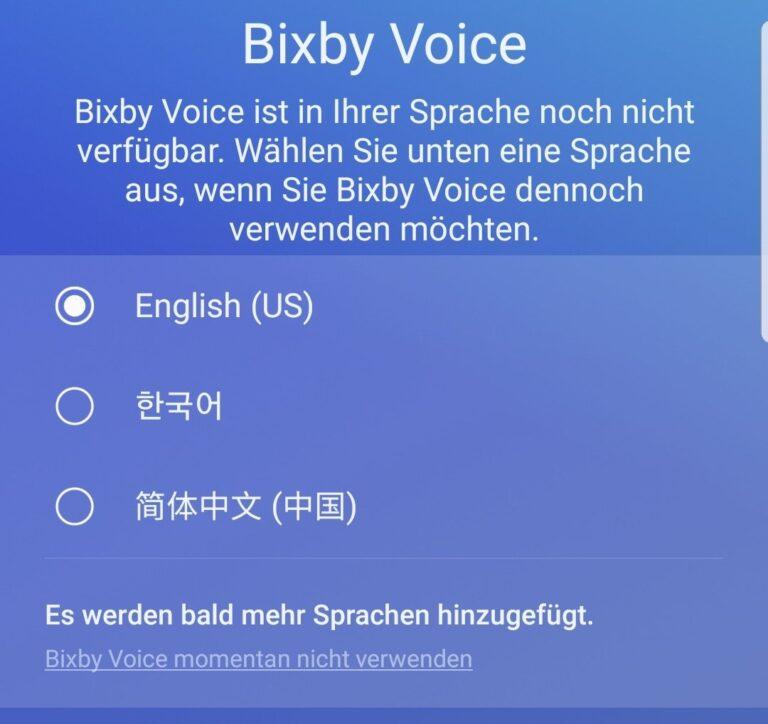 Bixby: Noch immer nicht auf Deutsch verfügbar.