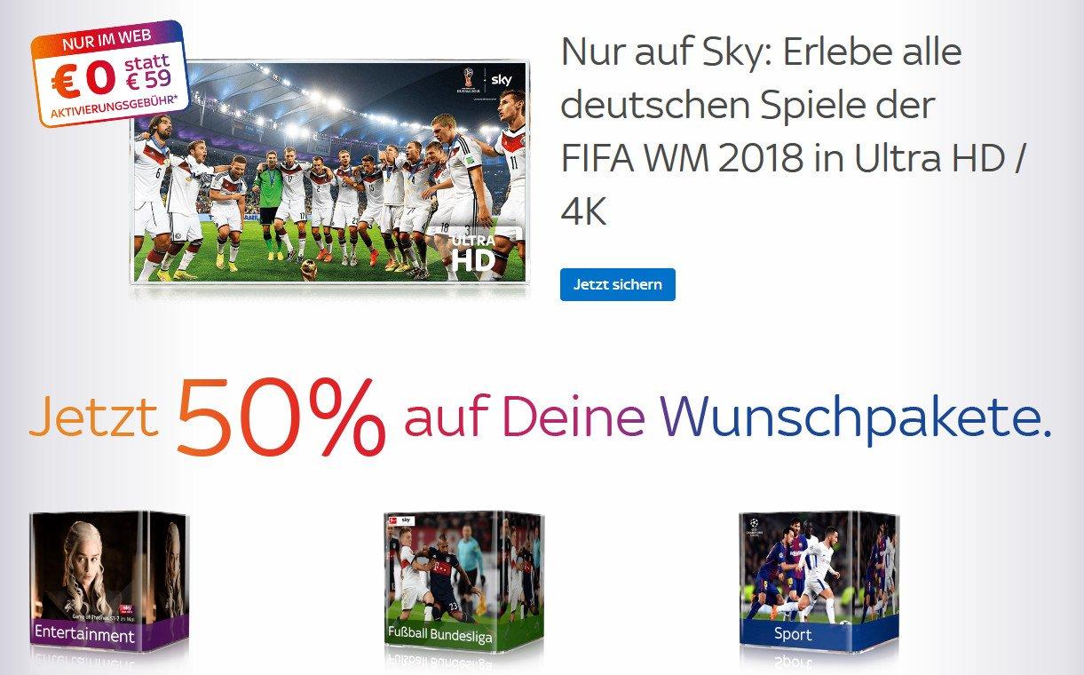 Sky-Angebote zur Fußball-WM: Keine Aktivierungsgebühr und im ersten Jahr zum halben Preis (Screenshot)