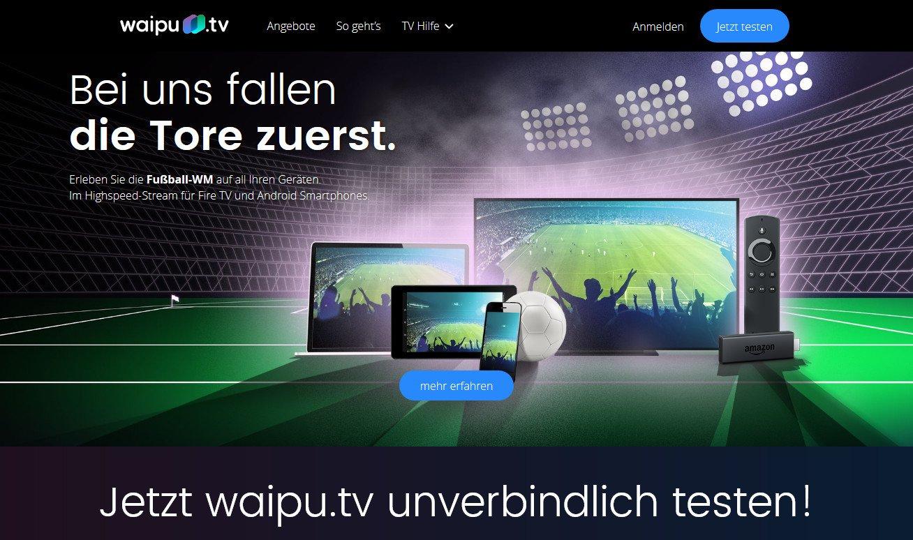 WaipuTV bietet zur WM 2018 eine besonders schnelle Übertragung der Spiele (Screenshot)