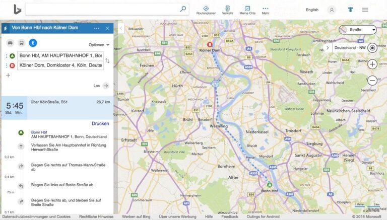 Bing Maps Fußgängernavi: Von Bonn nach Köln