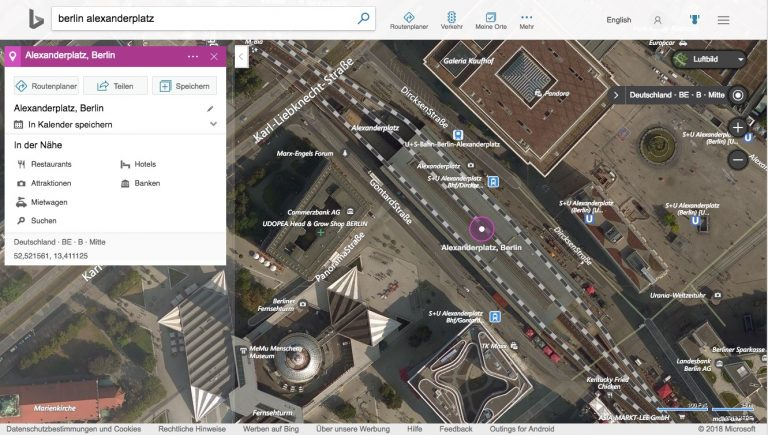 Bing Maps Luftbild von Berlin Alexanderplatz