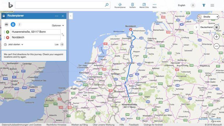 Bing Maps ÖPNV-Routenplanung