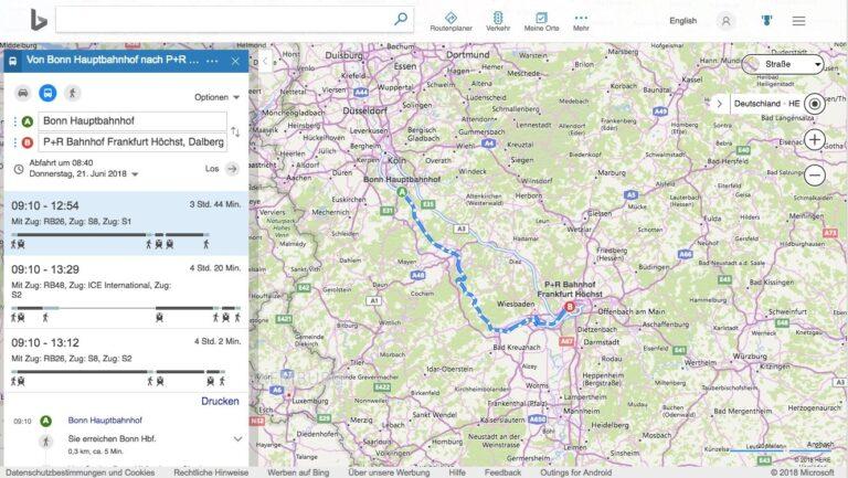 Bing Maps ÖPNV-Planung Bonn-Frankfurt