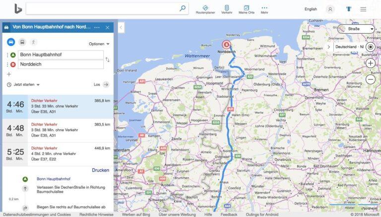 Routenplanung mit Bing Maps