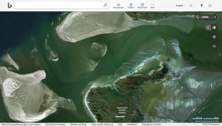 Juist, Memmert und Kachelotplate. Satellitenaufnahme mit Bing Maps
