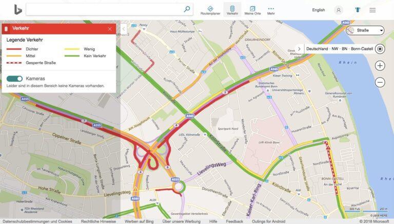 Live-Verkehrsdaten für die Stadt Bonn zum Feierabendverkehr mit Bing Maps...