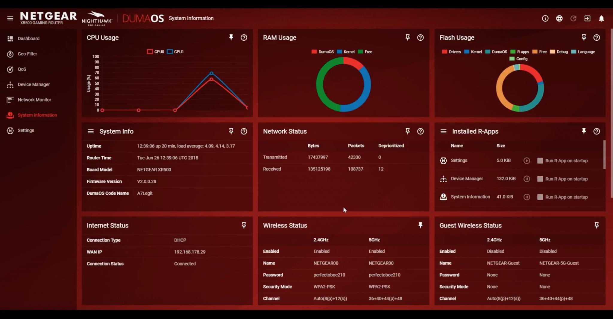 DumaOS: Die Übersicht System Information gibt noch mehr Einblick als das Dashboard
