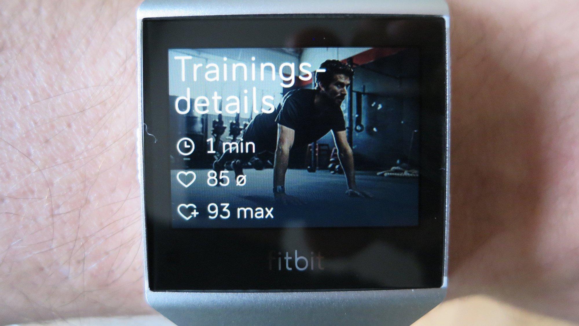 Fitbit Ionic adidas Edition: Nach den Übungen werden die persönlichen Werte in der Train-App angezeigt (Bild: Peter Giesecke)