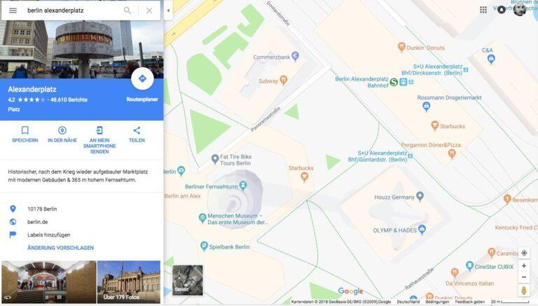 Google Maps Karte von Berlin Alexanderplatz