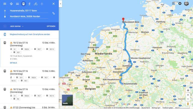 Navigation mit Bus und Bahn und Google Maps