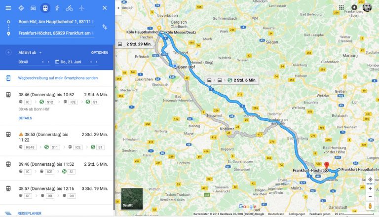 Google Maps mit Bus und Bahn
