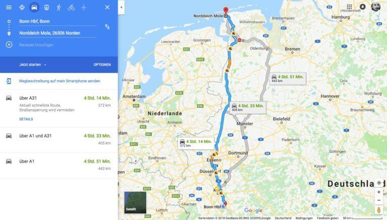 Routenplanung mit Google Maps