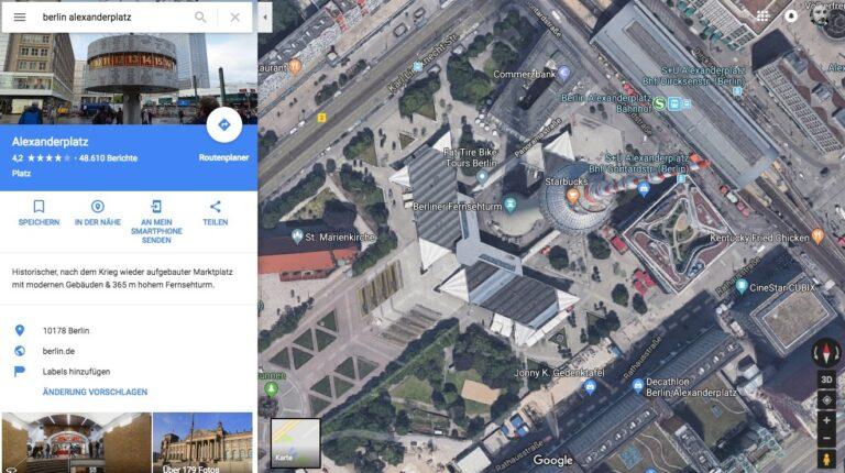 Satellitenbild von Berlin Alexanderplatz mit Google Maps