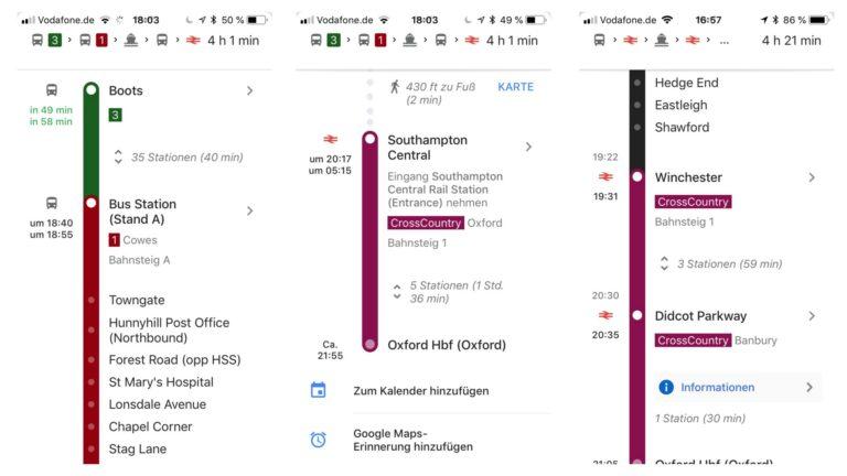Google Maps als Routenplaner Bus und Bahn