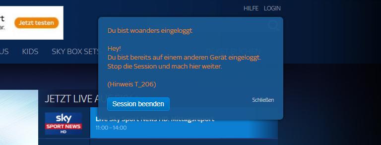 Sky Ticket erlaubt keine parallele Nutzung und unterbindet dies (Screenshot)