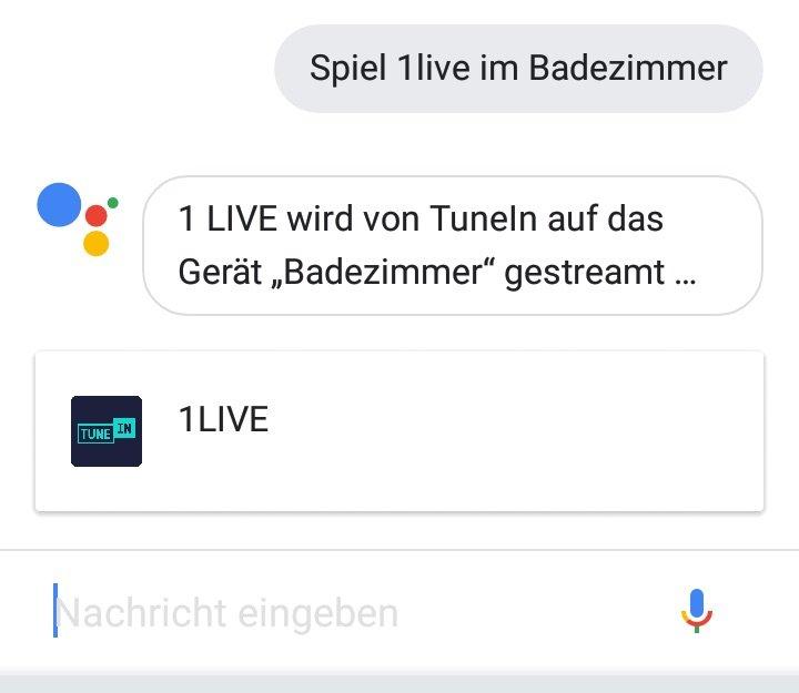 Wenn nichts mehr geht, dann eben doch von Hand: Die Tastatur in der Google-Assistant-App steuert die Musik auf dem Google Home Mini