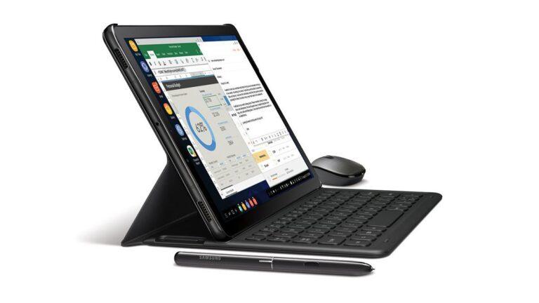 Samsung Galaxy Tab S4 mit Stift, Tastaturcover, Maus und dem Desktop-Modus DeX. (Foto: Samsung)