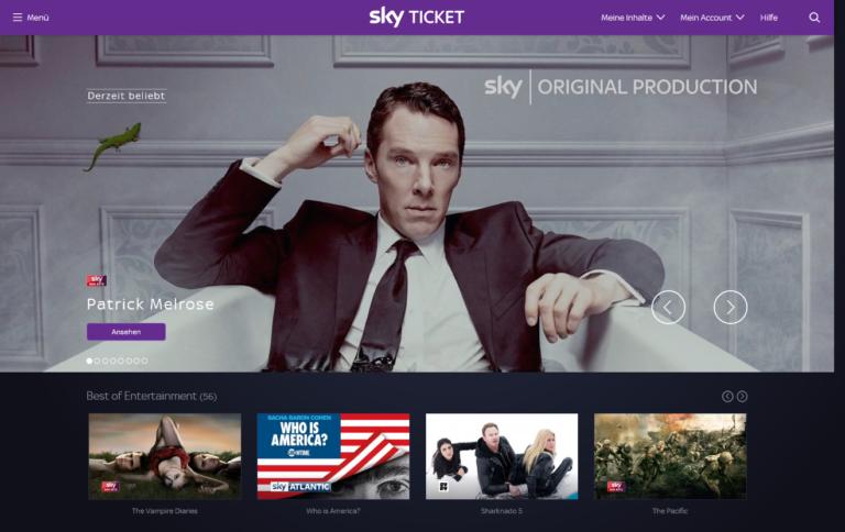 Sky Ticket im neuen Gewand (Screenshot)