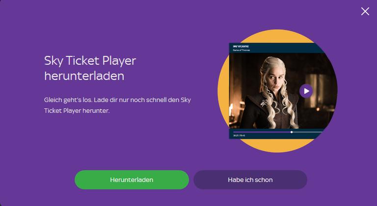 Bevor ein Bild erscheint, muss erst der Sky Ticket Player heruntergeladen und installiert werden (Screenshot)