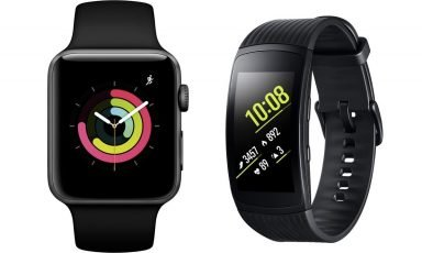 Smartwatches Apple Watch und Samsung Gear Fit2 Pro