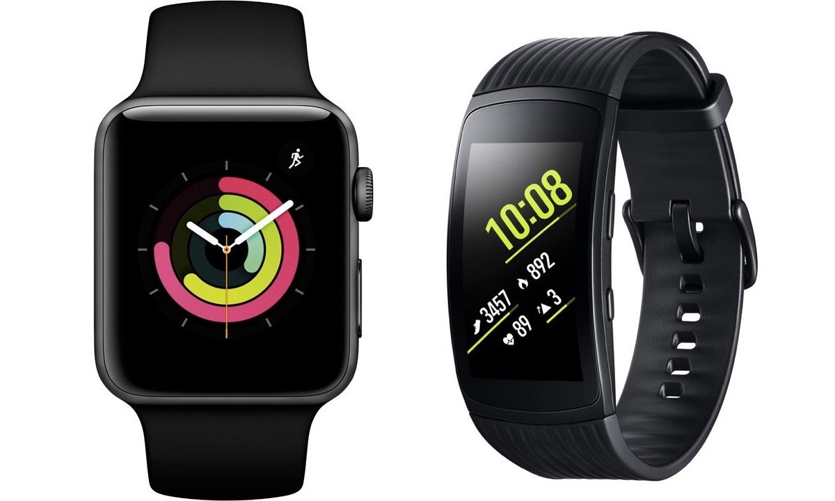 Smartwatches Apple Watch und Samsung Gear Fit2 Pro