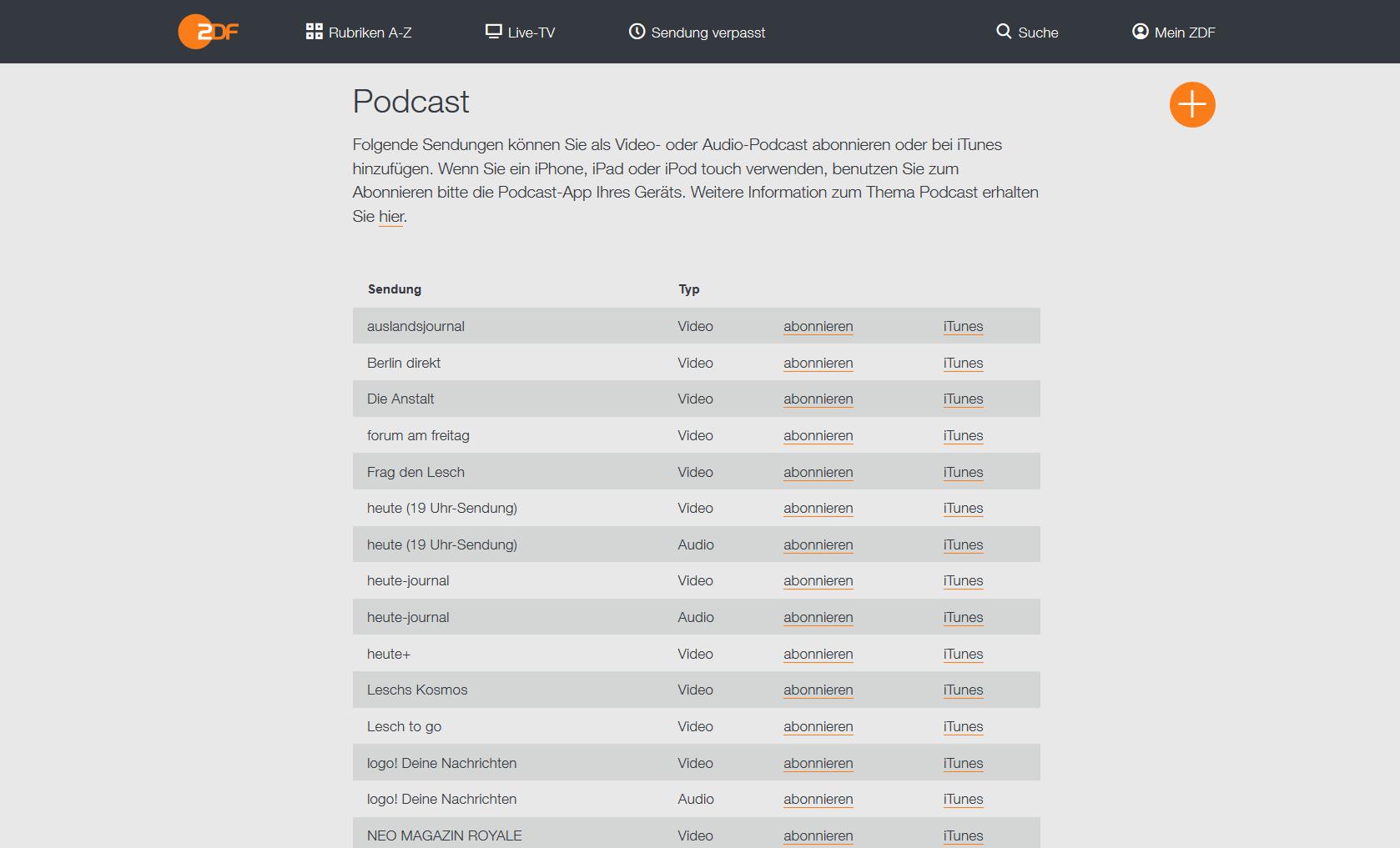 Einzelne Sendungen lassen sich in der ZDF Mediathek auch als Video-Podcast abonnieren (Screenshot)