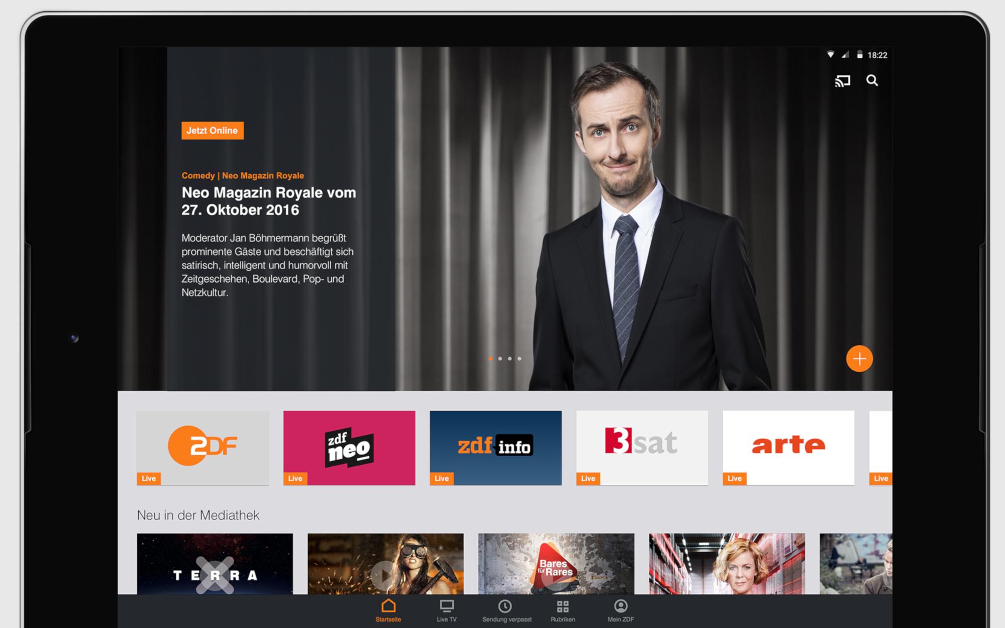 Die ZDF Mediathek auf einem Android-Tablet: Und wieder grinst der Böhmermann (Bild: ZDF/Google Play Store)