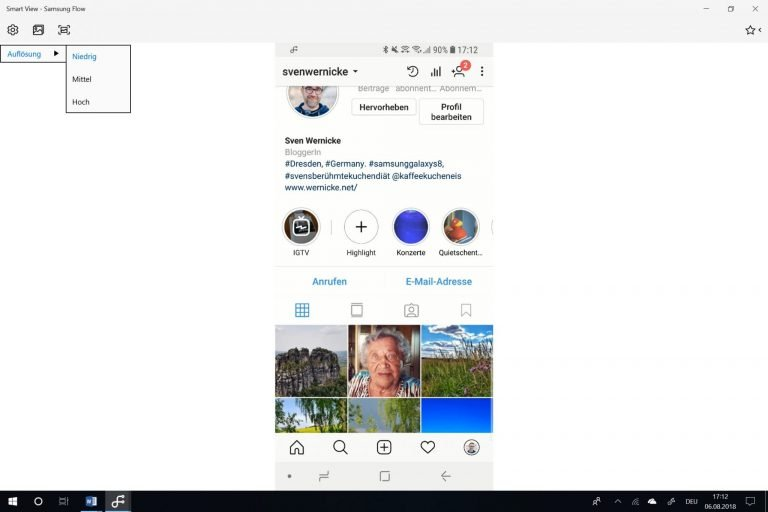 Instagram auf dem PC verwenden - das geht mit Samsung Flow. (Foto: Screenshot)