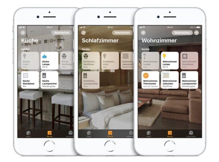 Verschiedene Räume mit Apple Home definieren.