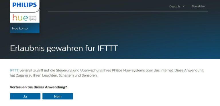 Wichtig: Die Verbindung stellt ihr über euren Hue-Account her. Ohne den geht das nicht. IFTTT greift also über die von Philips freigegebene Schnittstelle zu. (Foto: IFTTT/Philips)