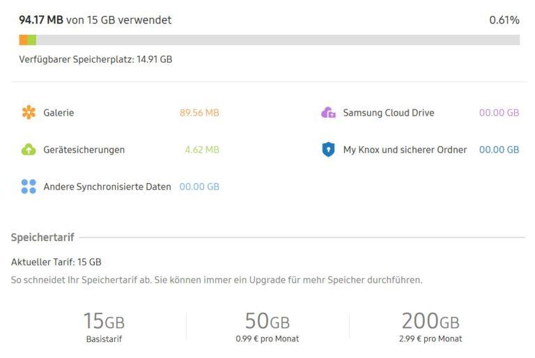 Samsung Cloud - seit Ende 2018 mit mehr Funktionen. (Foto: Screenshot)